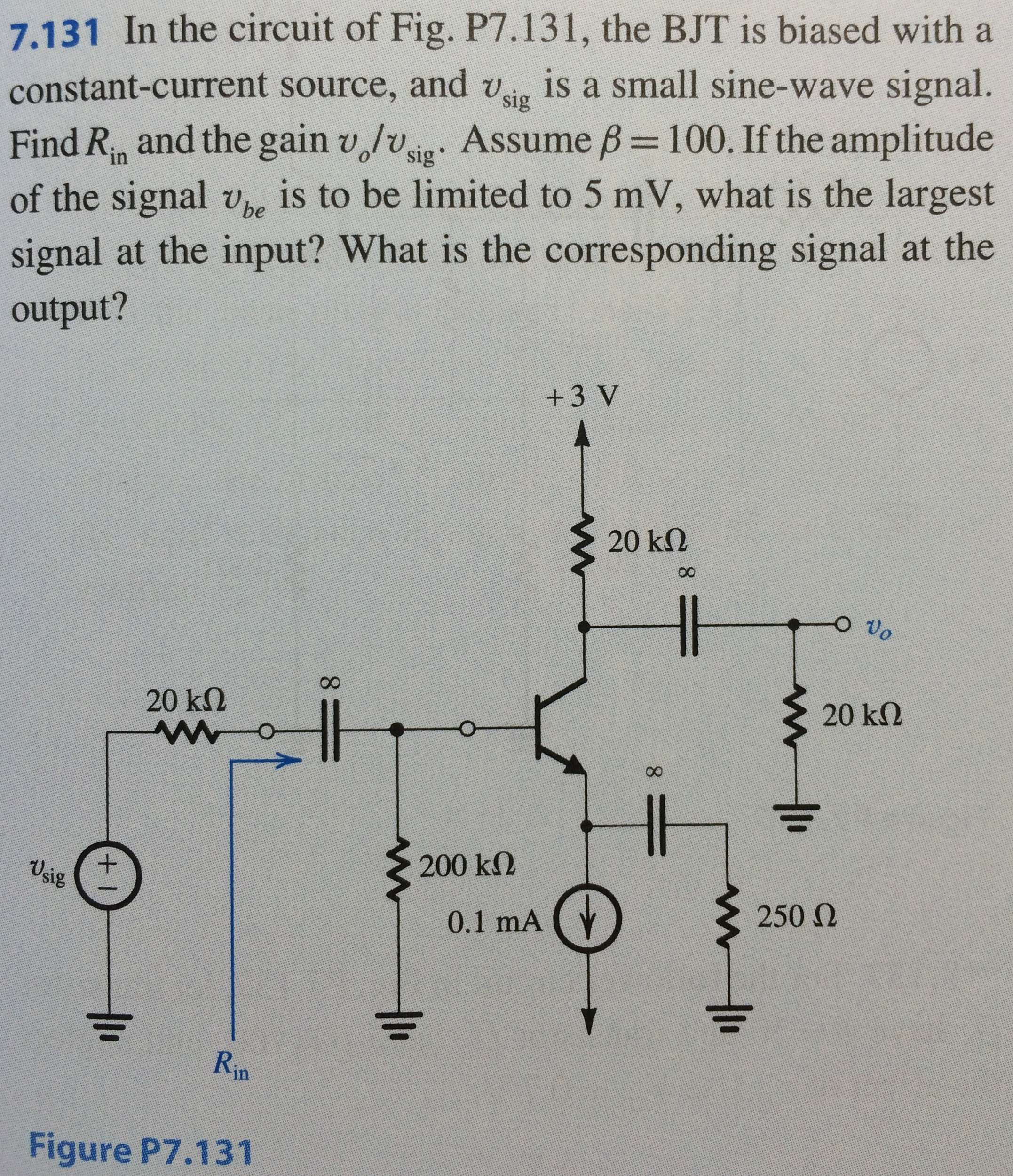 Solved In The Circuit Of Fig P7131 Bjt Is Biased W Sine Wave