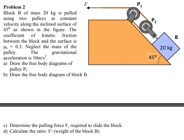Solved block b of mass 20 kg is pulled using two pulleys the gravitational acceleration is 10ms2 problem 2 block b of mass 20 kg is pulled using two pulleys at constant velocity ccuart Image collections
