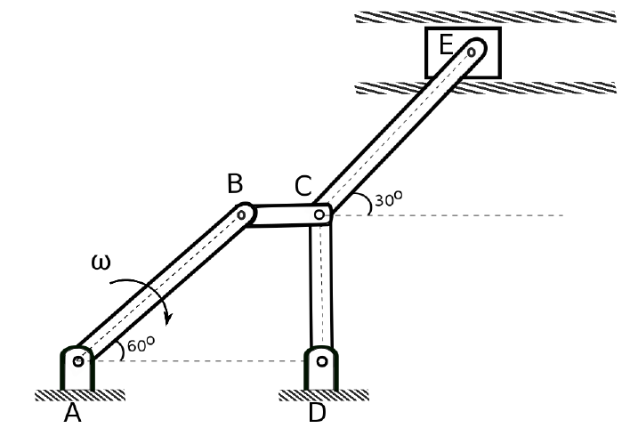 5 Simple Mechanisms : Solved a bar mechanism is shown in the figure below if