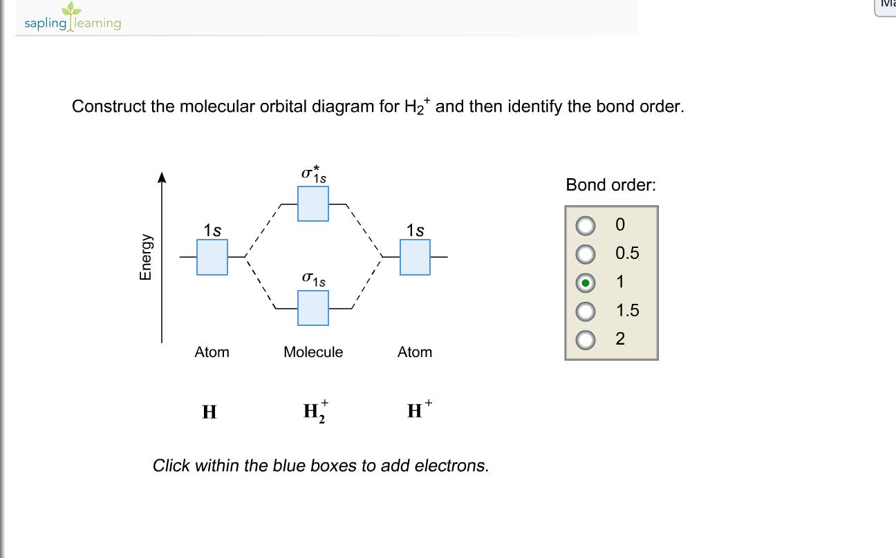 Solved: Construct The Molecular Orbital Diagram For H2+ An ... H2 Molecular Orbital Diagram