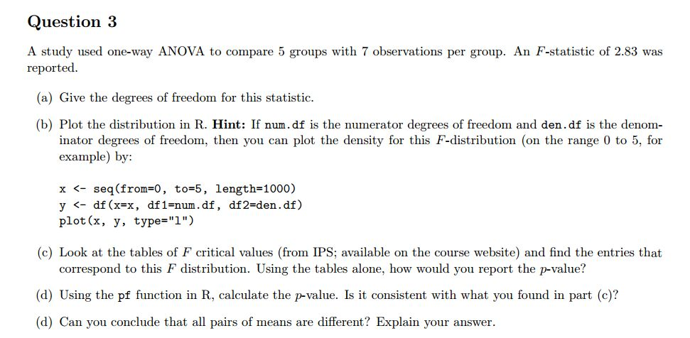 Solved: A Study Used One-way ANOVA To Compare 5 Groups Wit