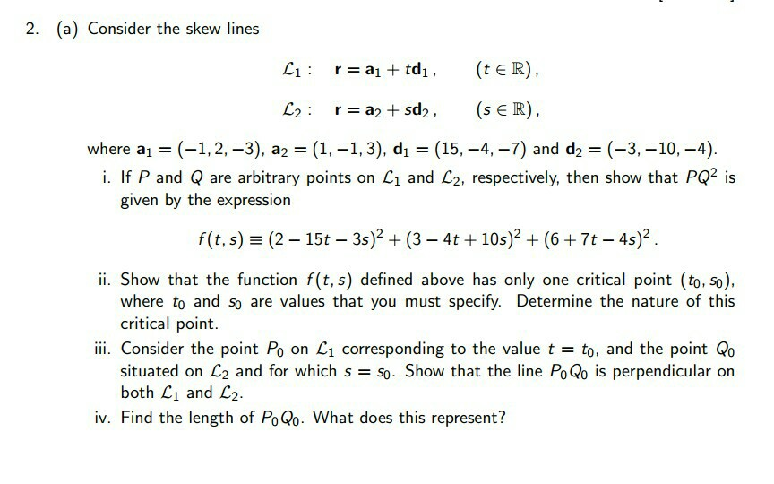 3073913128b Solved: 2. (a) Consider The Skew Lines Where Al-(-1,2-3 ...
