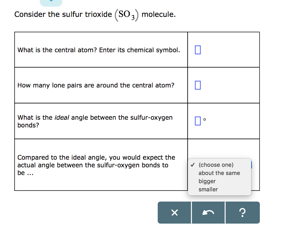 Solved consider the sulfur trioxide so3 molecule what consider the sulfur trioxide so3 molecule what is the central atom enter buycottarizona Image collections
