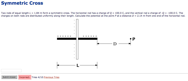 Two Rods Of Equal Length L = 1.84 M Form A Symmetr...   Chegg.com