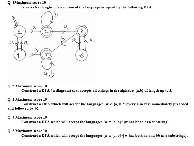 Solved q imaximum score 10 give a clear english descript q imaximum score 10 give a clear english description of the language accepted by the ccuart Choice Image