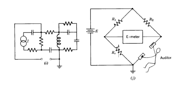 note: the e-meter may be modeled as an open-circuit pair, and the auditor  may be modeled as a resistance