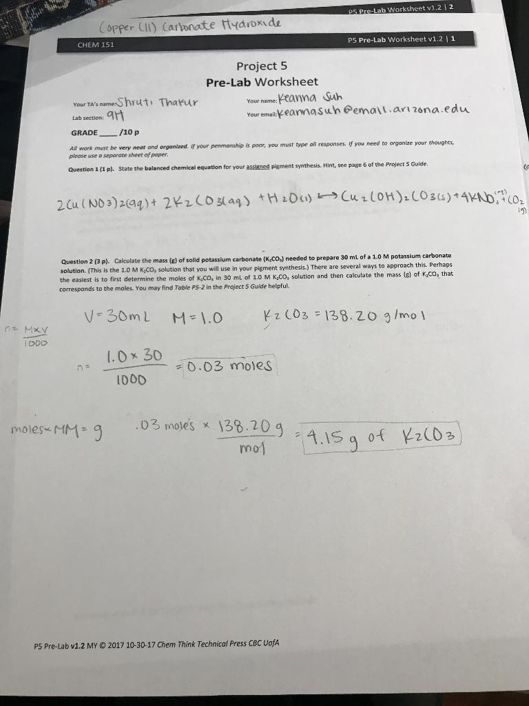 Solved: CHEM 151 P5 Pre-Lab Worksheet V1 2 12 Question 3