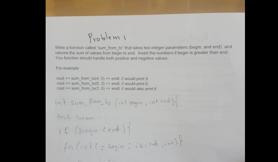 Problem I write a function called sum