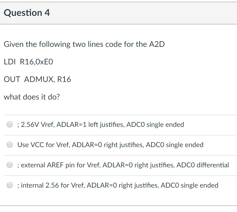 Adlar solved: question 4 given the following two lines code for