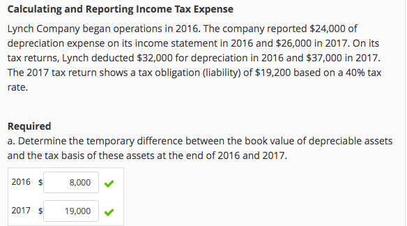 solved calculating and reporting income tax expense lynch