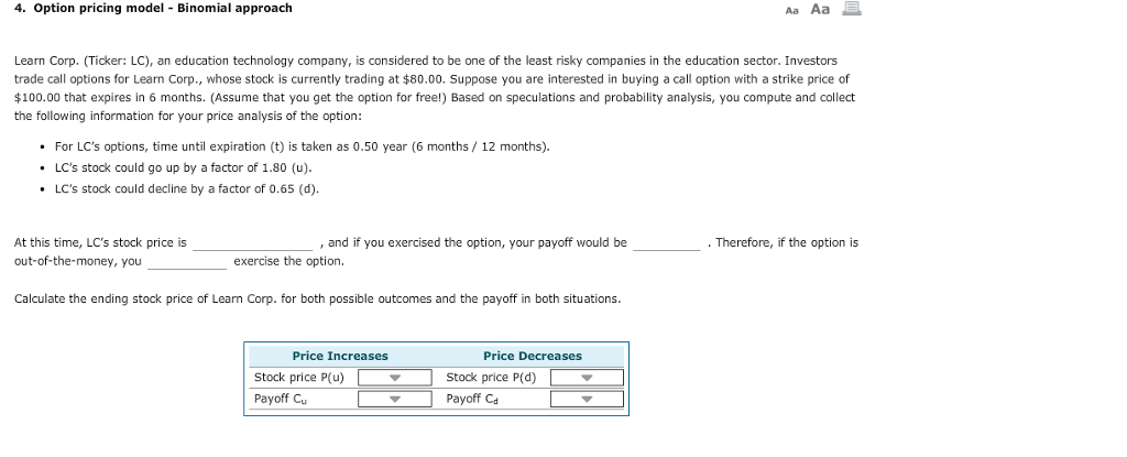 Solved: Aa Aa E. 4. Option Pricing Model Binomial Approach... | Chegg.com