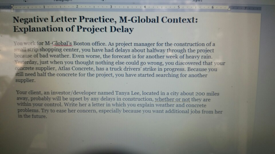 wk2 homework explanation of project delay