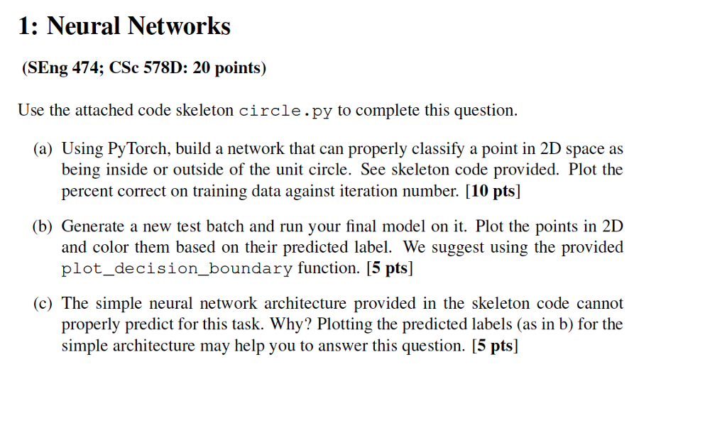Neural Networks (SEng 474