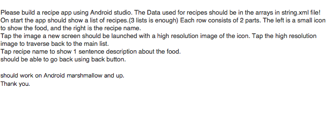 Solved build a recipe app using android studio the data please build a recipe app using android studio the data used for recipes should be forumfinder Choice Image