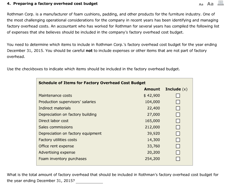 Preparing A Factory Overhead Cost Budget Rothman Corp. Is A