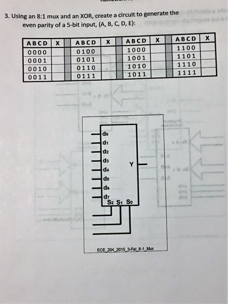 Solved 3 Using An 81 Mux And Xor Create A Circuit T 8 1 Multiplexer Diagram To