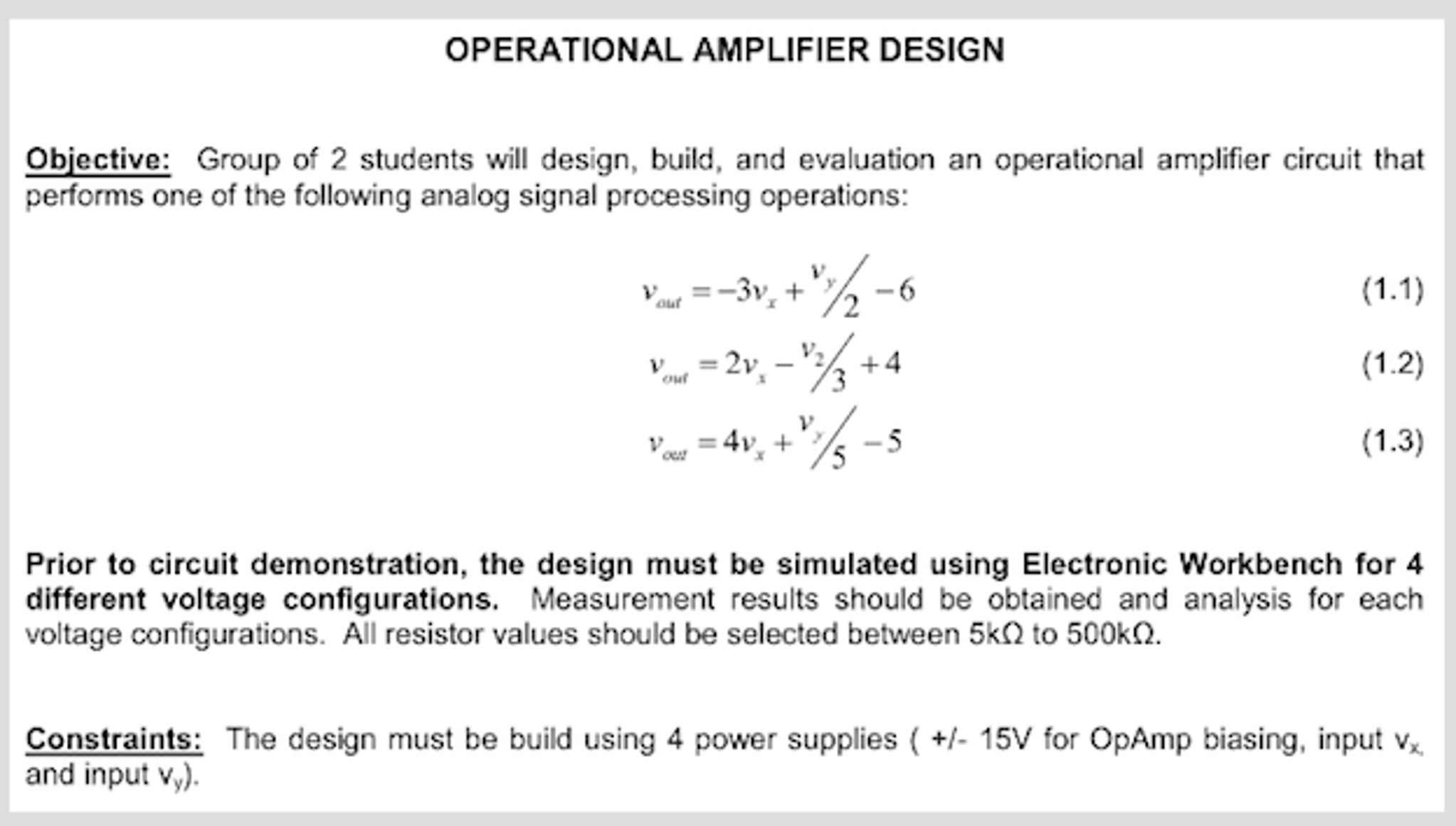 Group Of 2 Students Will Design Build And Evalua Analog Amplifier Circuits