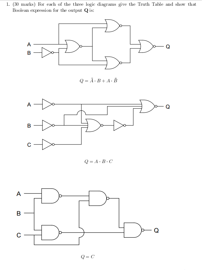 Solved For Each Of The Three Logic Diagrams Give The Trut