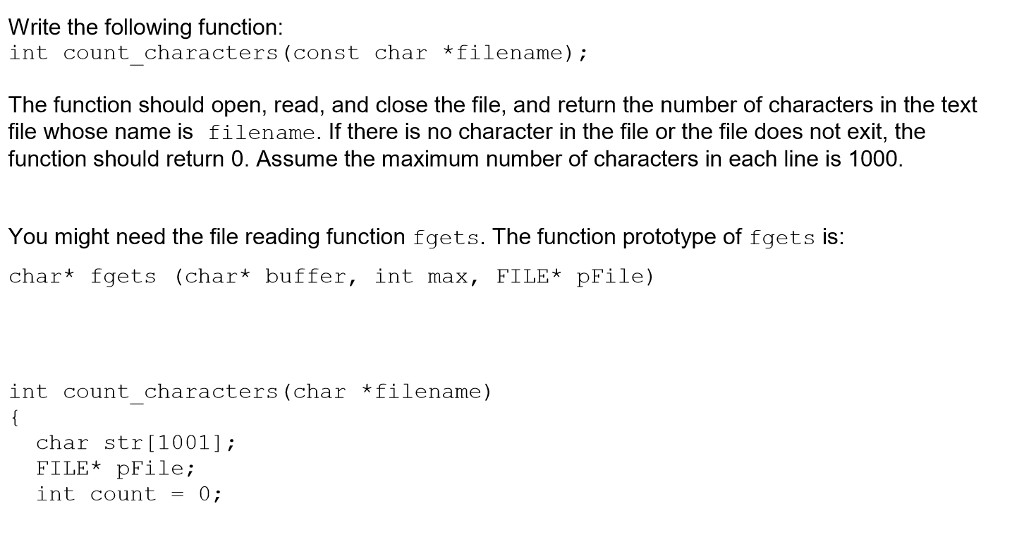 Solved: Write The Following Function: Int Count_characters