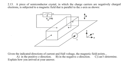 2.13. A piece of semiconductor crystal, in which the charge carriers are negatively charged electrons, is subjected to a magnetie field that is parallel to the x-axis as shown: Given the indicated directions of current and Hall voltage, the magnetie field points.. A) in the positive x direction. B) in the negative x direction. C) cant determine. Explain how you arrived at your answer