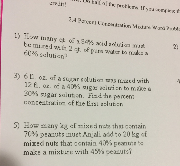 Solved: How Many Qt. Of A 84% Acid Solution Must Be Mixed ...   Chegg.com