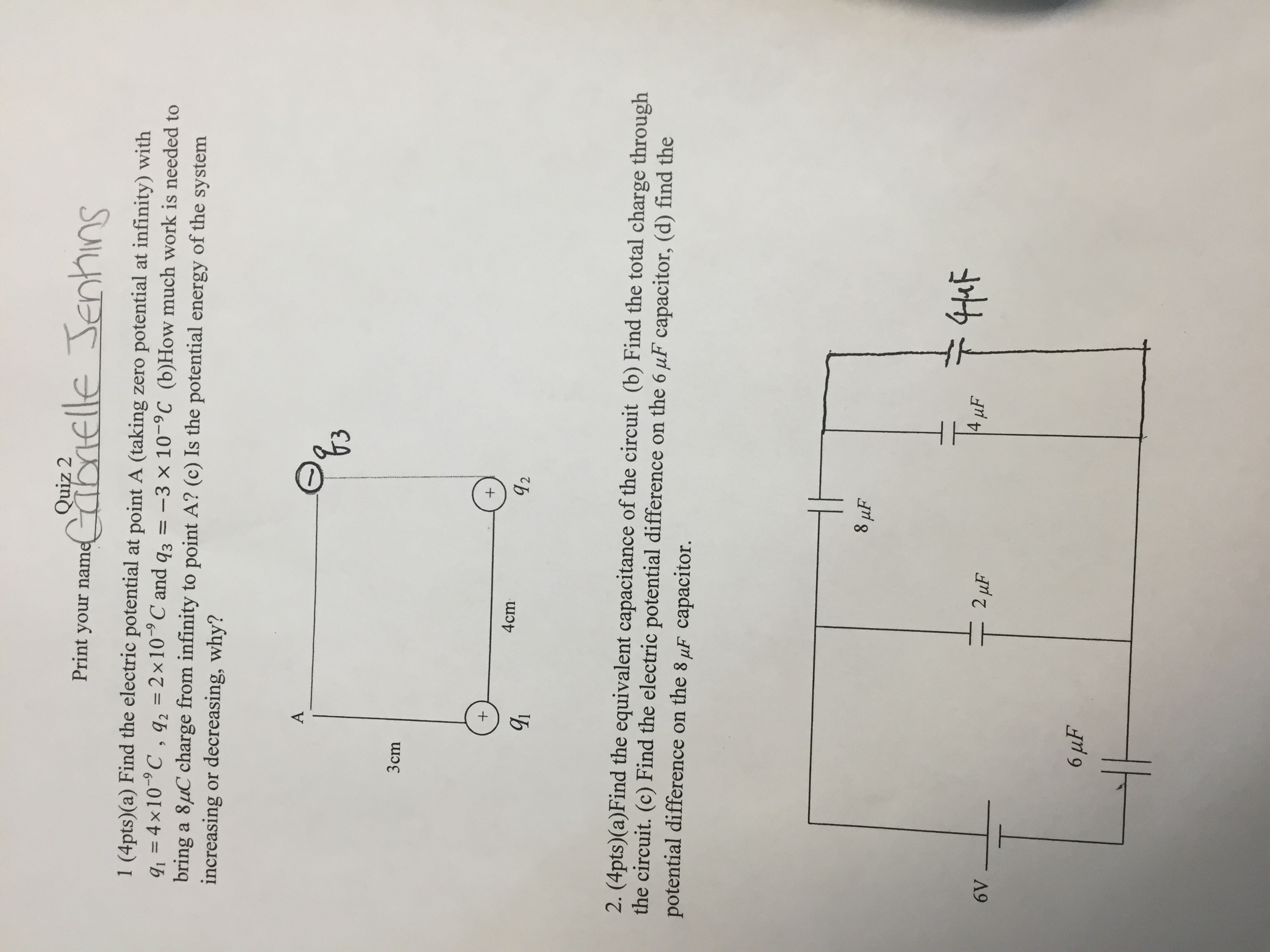 Solved Find The Electric Potential At Point A Taking Zer In Circuit