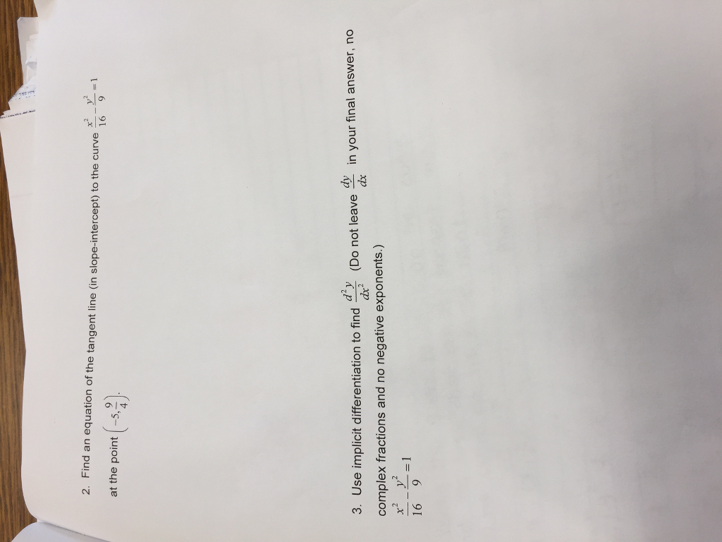 Find An Equation Of The Tangent Line (in Slopeintercept) To