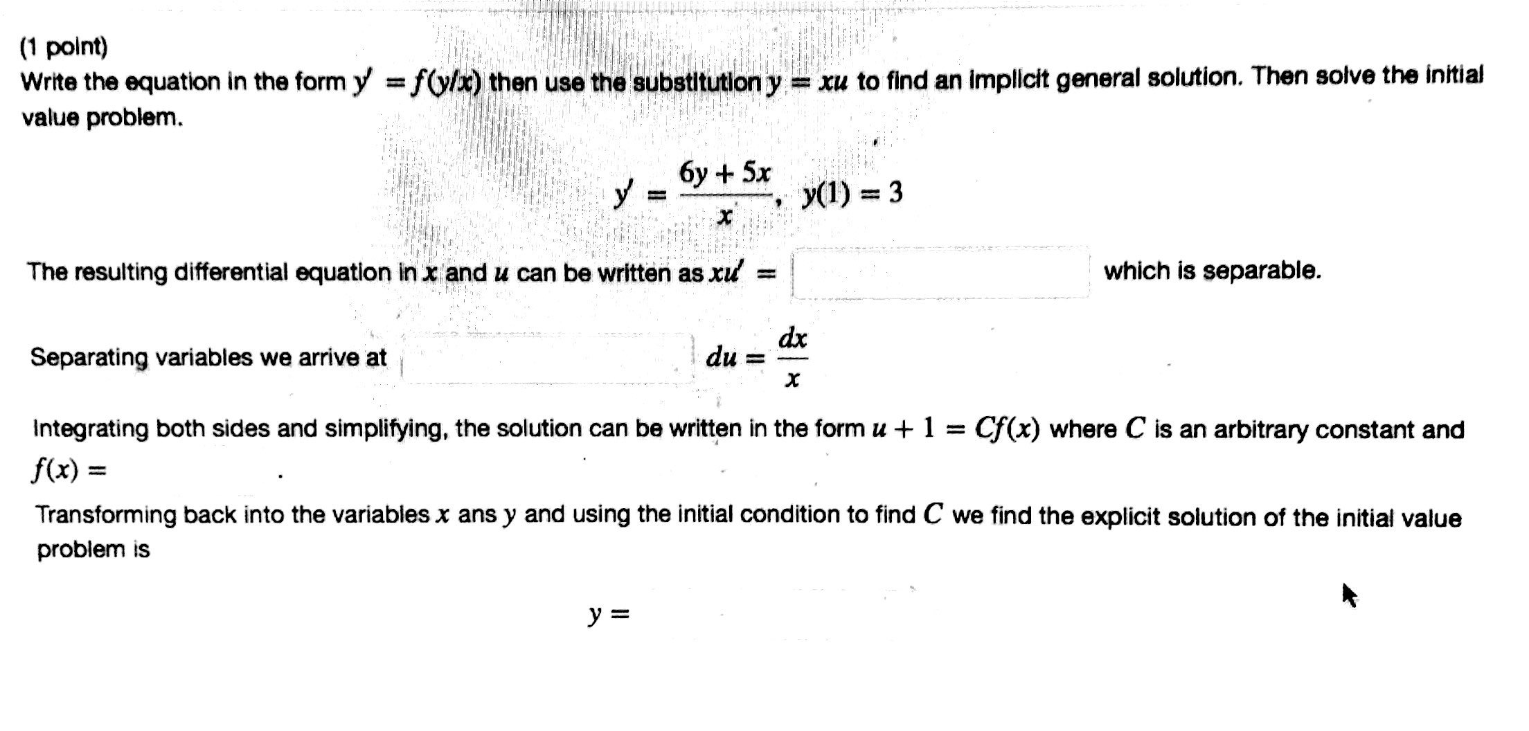 solved write the equation in the form yfyxyfyx