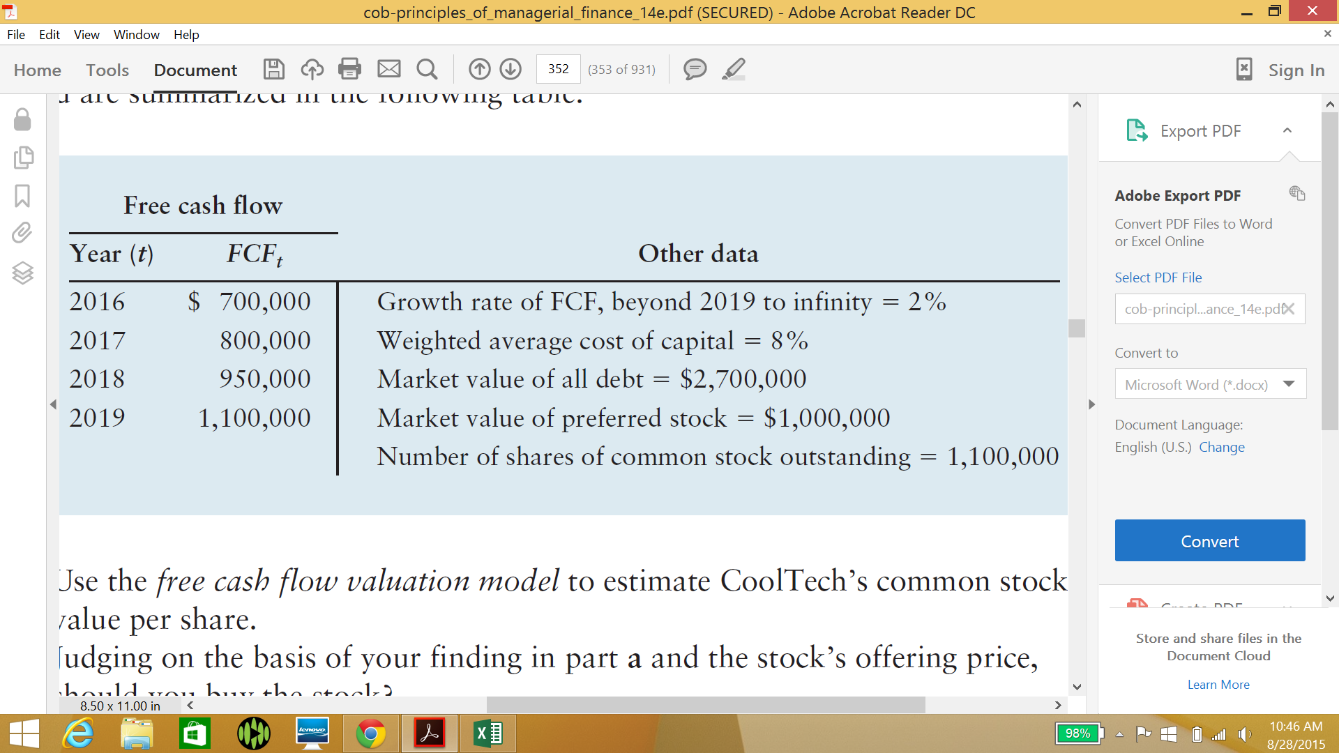 Solved: Using The Free Cash Flow Valuation Model To Price