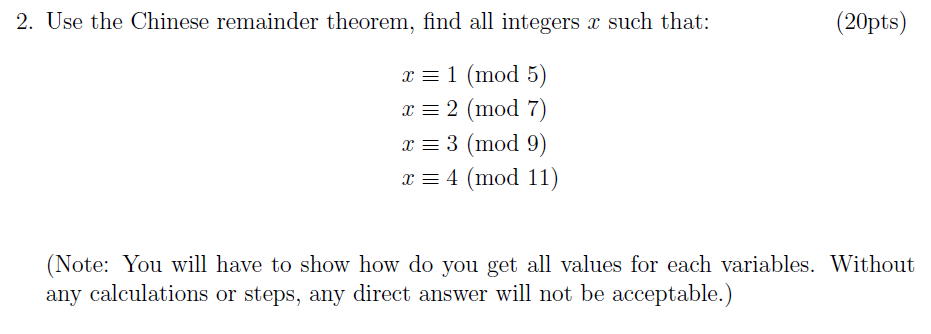 Solved: 2  Use The Chinese Remainder Theorem, Find All Int