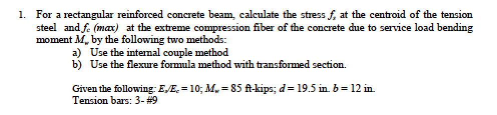 Solved: For A Rectangular Reinforced Concrete Beam, Calcul
