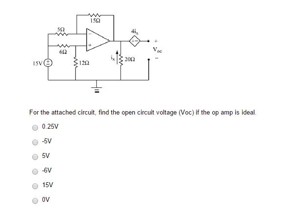 solved for the attached circuit find the open circuit vo rh chegg com