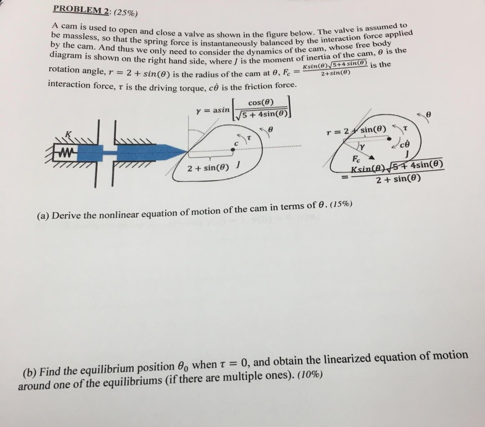 Mechanical engineering archive february 28 2018 chegg problem 2 25 a cam is used to open and close a ccuart Image collections