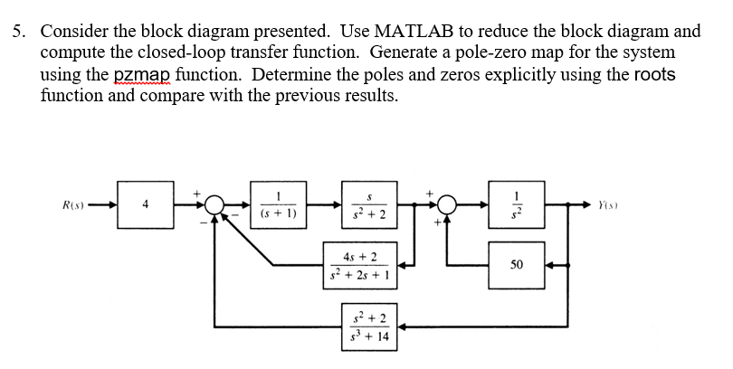 consider the block diagram presented use matlab t chegg com rh chegg com matlab tutorial block diagram reduction transfer function block diagram reduction in matlab