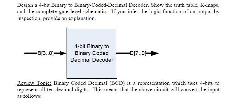 Design A 4 Bit Binary To Binary Coded Decimal Decoder Show The Truth Table K Maps And The Complete Gate Level Schematic If You Infer The Logic Function