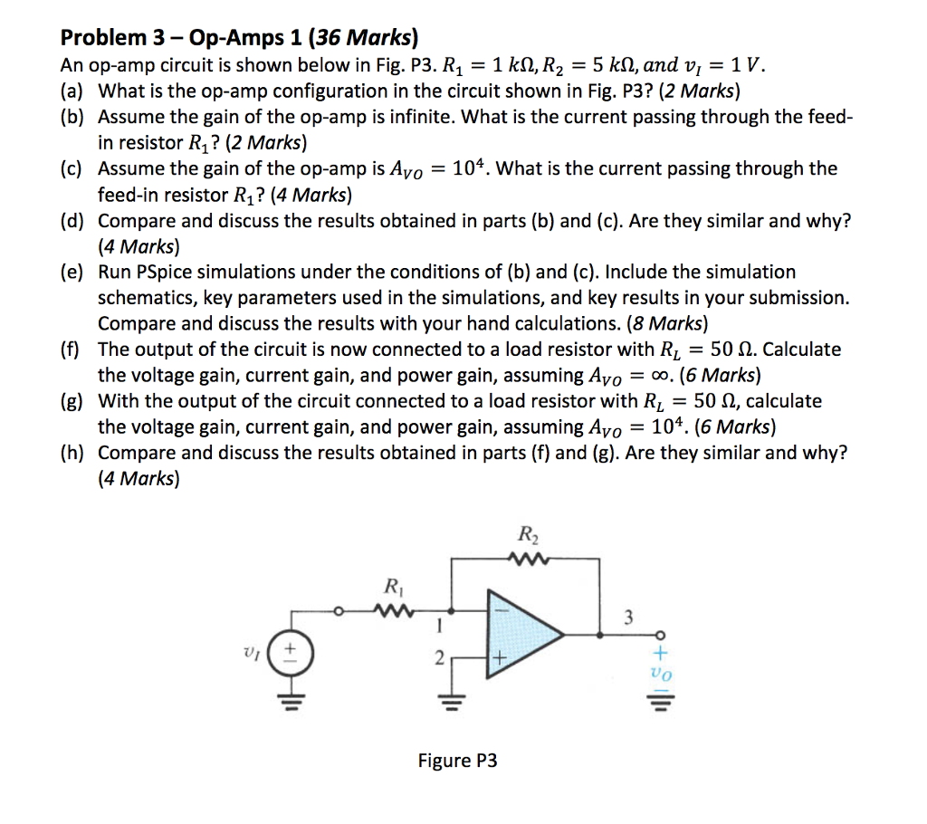 Solved Problem 3 Op Amps 1 36 Marks An Amp Circuit Summer