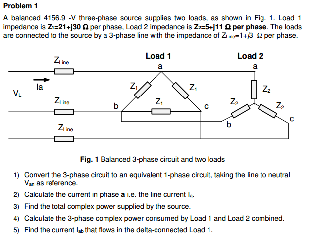 Solved: A Balanced 4156 9 -V Three-phase Source Supplies T