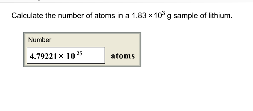 Chemistry archive october 04 2017 chegg calculate the number of atoms in a 183 x103 g sample of lithium number 479221 fandeluxe Images