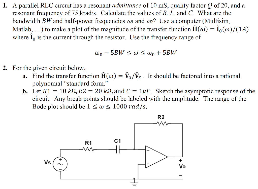 Solved Need Help With Both Questions A Parallel Rlc Circ
