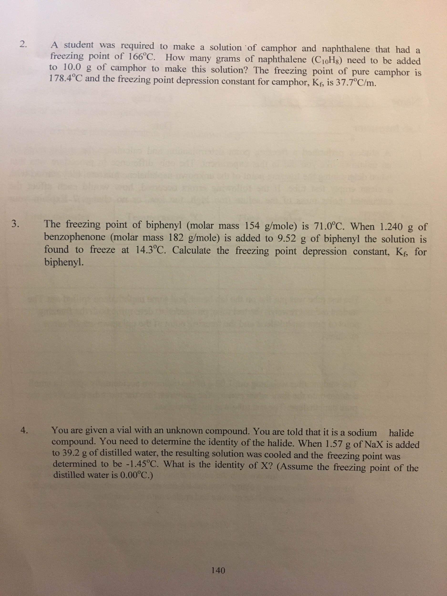 A Student Was Required To Make A Solution Of Camph