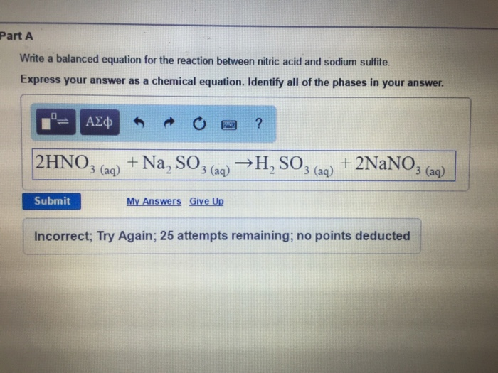 Solved Write A Balanced Equation For The Reaction Between