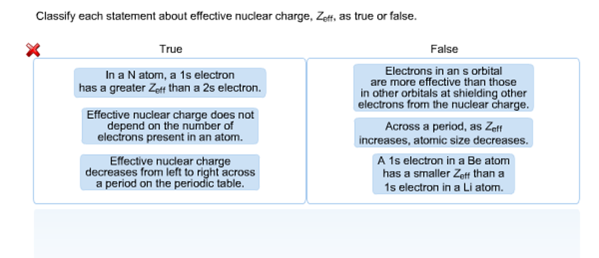 Solved classify each statement about effective nuclear ch classify each statement about effective nuclear ch urtaz Image collections