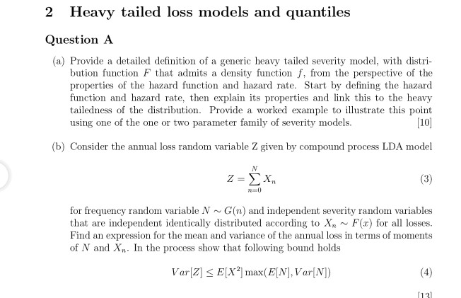 2 heavy tailed loss models and quantiles question chegg com