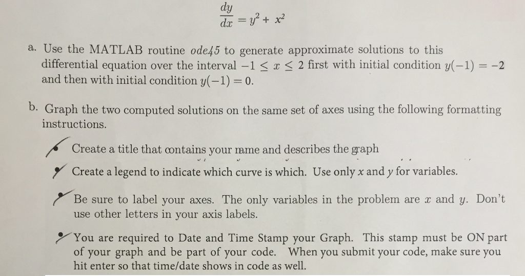 Solved: Engineering Differential Equations MATLAB Use MATL