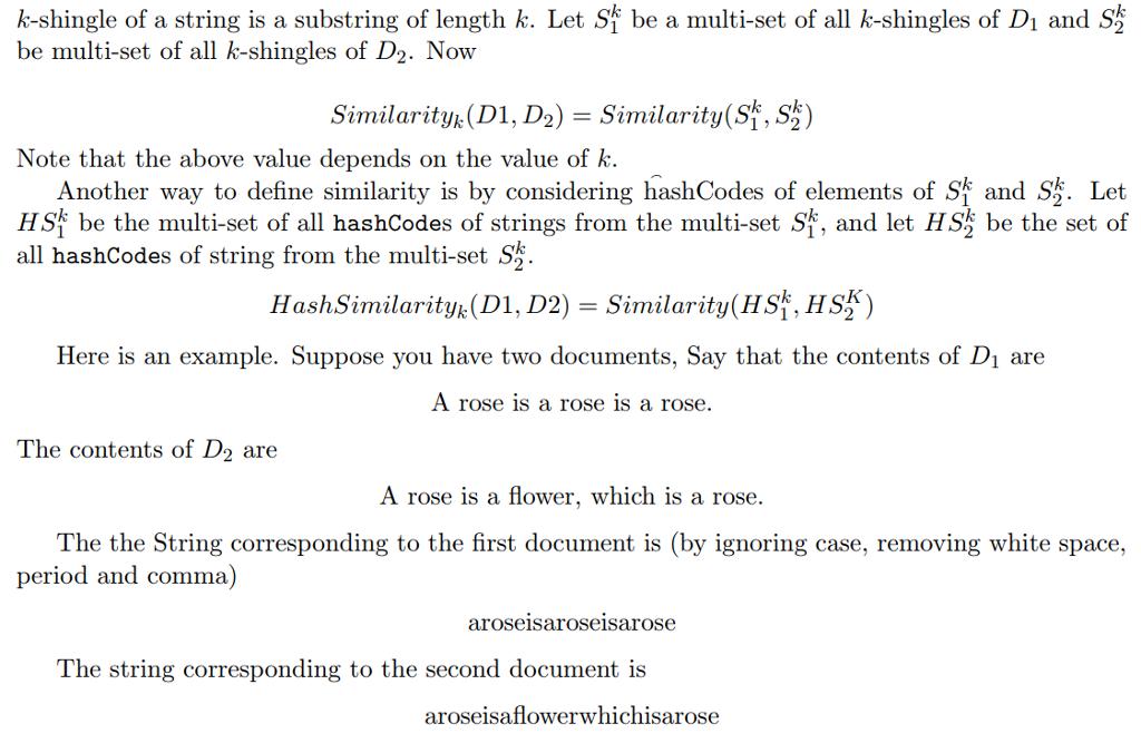 Write A JAVA Class For Document Similarity (instru