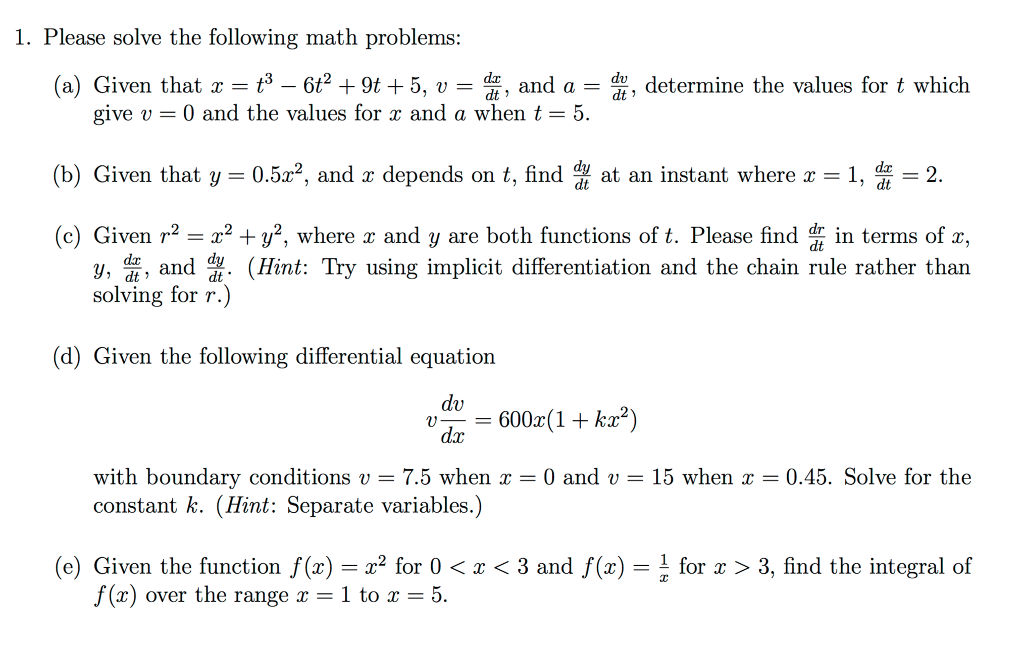 Solved: 1. Please Solve The Following Math Problems (a) Gi ...