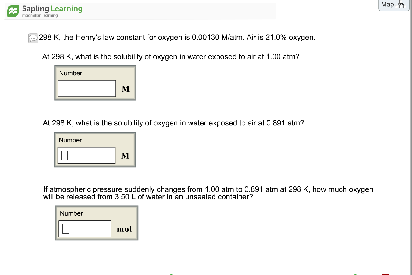 Solved: At 298 K, The Henry\'s Law Constant For Oxygen Is