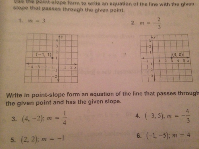 Solved Use The Point Slope Form To Write An Equation Of T