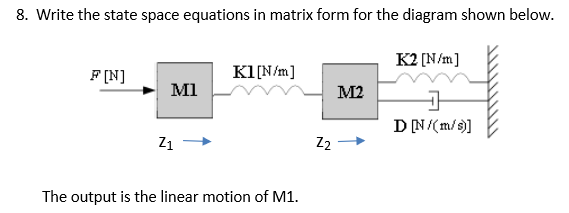 Solved 8 Write The State Space Equations In Matrix Form