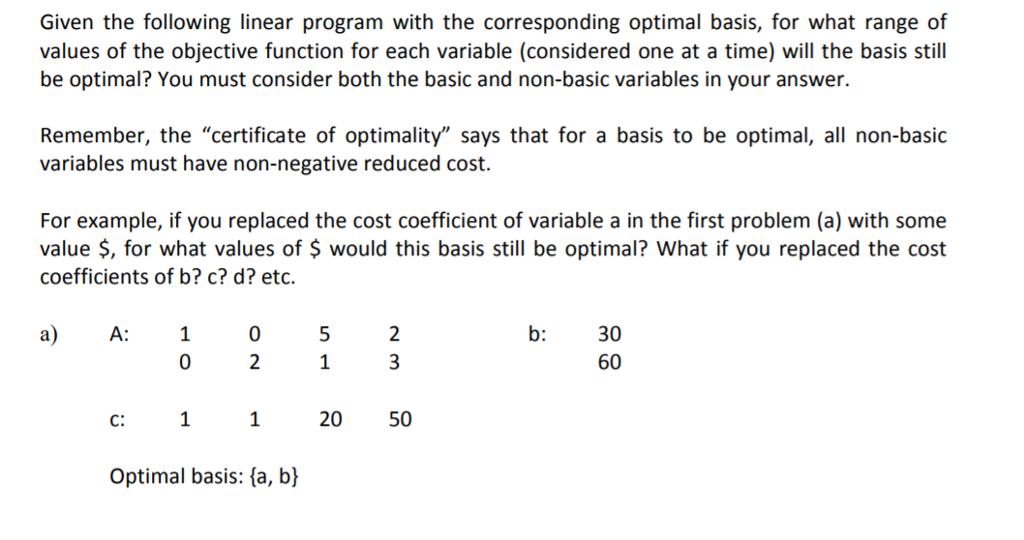 Given the following linear program with the corres chegg given the following linear program with the corresponding optimal basis for what range of values altavistaventures Gallery